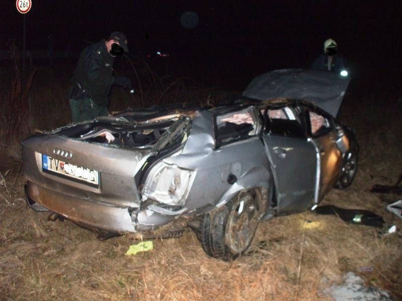 Dopravná nehoda vozidla Audi za obcou Oborín